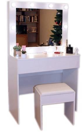 Toaletka kosmetyczna do makijażu z lustrem i oświetleniem LED Hollywood