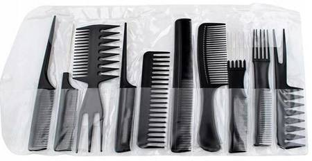 Zestaw 10 grzebieni fryzjerskich + etui